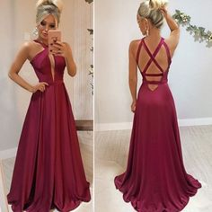 satin Criss Cross Back Prom Dress with Slit, Sexy Sleeveless Long Evening Party Dress Bridesmaid Dresses, Prom Dresses, Formal Dresses, Slit Dress, Beautiful Dresses, Ball Gowns, Evening Dresses, Party Dress, Criss Cross