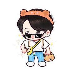 Kai Bear Fanart 🐻🐻 by Cookie ✨ Exo Cartoon, Cartoon Fan, Exo Kokobop, Exo Kai, Baekhyun, Kai Arts, Exo Stickers, Exo Anime, Bear Drawing