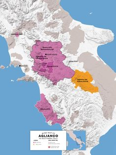 Aglianico growing regions in Southern Italy   #map #winemap #cartography #design