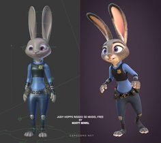 Download Zootopia's Judy Hopps rigged 3D Model | CG Daily News 4d Animation, Learn Animation, Animation Stop Motion, Animation Tutorial, Computer Animation, Animation Reference, Character Rigging, 3d Model Character, Character Modeling