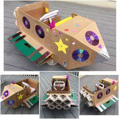 Cardboard Spaceship, Spaceship Craft, Cardboard Rocket, Rocket Ship Craft, Diy Rocket, Cardboard Crafts Kids, Cardboard Toys, Diy For Kids, Crafts For Kids