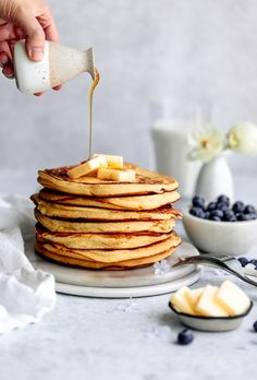 These extra fluffy ricotta pancakes are what mornings are made for! This recipe is easy to make, and yields light and soft pancakes best when served with warm maple syrup. Ricotta Pancakes, Chocolate Pancakes, Pancakes And Waffles, Banana Recipes, Apple Recipes, Beef Recipes, Chicken Recipes, Healthy Recipes, Pancake