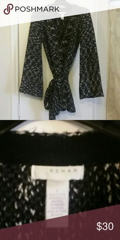 Kenar open front sweater Worn once. Heavier weight sweater. Dark gray and white. Tie waist. Kenar Sweaters