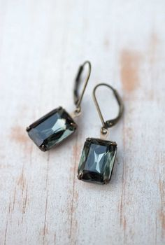 Holiday Jewelry Gift For Her Vintage Earrings Estate Style Dangle Earrings - Black Ice. $22,00, via Etsy.