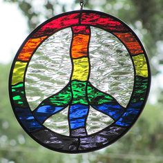 Stained Glass Peace Sign~Wavy Rainbow by livingglassart home of oddballs and oddities, via Flickr