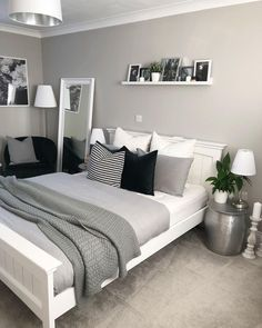 Bedroom decor - 47 Mythical Answers To Master Bedroom Layout Furniture Dressers Disclosed 39 Trendy Bedroom, Modern Bedroom, Bedroom Romantic, Teen Bedroom Colors, Room Color Ideas Bedroom, Grey Bedroom Design, Colors For Small Bedrooms, Design For Small Bedroom, Paint Ideas For Bedroom