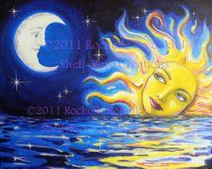 Solar Goddess and Moon Print 8 x 10 inch Celestial theme Sun and moon face Sun Moon Stars, Sun And Stars, Moon Painting, Moon Face, Sun Art, Goddess Art, Moon Print, Hippie Art, Moon Child