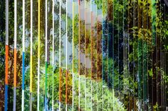 Detail glass plates wall with forest leaves, Art Academie in Dilbeek (Brussels). Architect: Carlos Arroyo  #belgium theurbanaddict.com