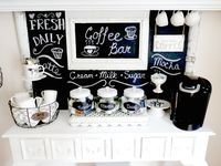 Junk Chic Cottage: * Chalkboard- for labeling* Coffee/Tea Bar * could add cookies/ snacks jar Coffee Area, Coffee Nook, Coffee Corner, Coffee Bar Station, Tea Station, Coffee Stations, Coffee Bars In Kitchen, Coffee Bar Home, Casa Feng Shui