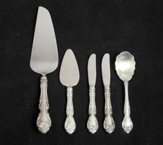 Estate-5-Pc-Lot-Gorham-Melrose-Sterling-Silver-Flatware-incl-Cheese-Pie-Sugar