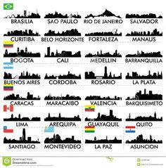 Skyline Ámérica Do Sul Da Cidade Ilustração do Vetor - Imagem: 42996189