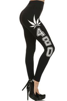 3f5ce4d335f133 420 Graphic Print Lined Leggings (Black) – Niobe Clothing Black Leggings,  Printed Leggings