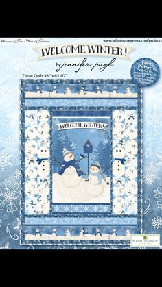 Welcome Winter! Project - Welcome Winter! - Fall Market 2017 - Fabric Collections - Our Fabrics Welcome Winter, Snowman Quilt, Wilmington Prints, Winter Project, Small Quilts, Wall Colors, Quilting Projects, Embellishments, Free Pattern