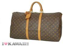 Auth Louis Vuitton Monogram Keepall 55 Bandouliere Bag Boston Duffle Free Ship! #LouisVuitton