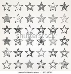Pentagonal five point star collection of thirty six emblem icon design elements, eps10 vector template set by timquo, via Shutterstock