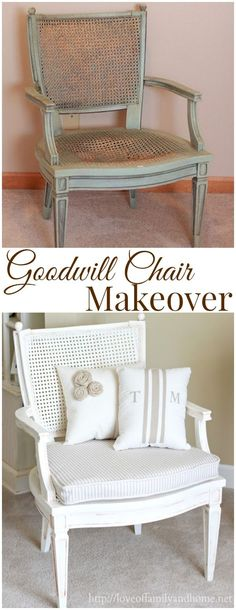 Wonder if this will work on old chair with cane back with missing section. = Thrift Store Chair Makeover - Love of Family  Home