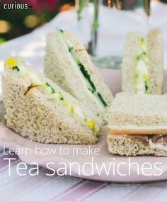 Tea Party Sandwiches - I had the best tea sandwiches at my aunts house last week, and just HAVE to make some myself now, for a fall party.