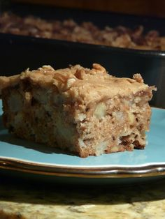 apple sheet cake with caramel frosting.  i'm deleting the raisins and the toasted walnuts will be optional.
