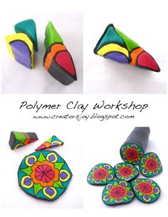 5 Free Polymer Clay Cane Tutorials from Polymer Clay Workshop Sculpey Clay, Polymer Clay Kunst, Polymer Clay Canes, Polymer Clay Flowers, Polymer Clay Projects, Polymer Clay Creations, Polymer Clay Earrings, Clay Crafts, Polymer Beads