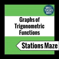 Trig Function Graphs Stations Maze by Mrs E Teaches Math | Teachers Pay Teachers