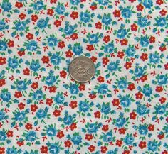 vintage feedsack fabric  TINY RED & BLUE Floral by NauvooQuiltCo, $5.50