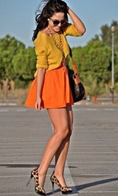 Yellow and orange with leopard print heels... never would have thought this combination would work but I like it
