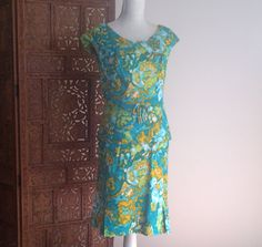 Vintage 60s-70s Morton BREGMAN Turquoise Gold Floral MOD Abstract 2 Piece Dress S