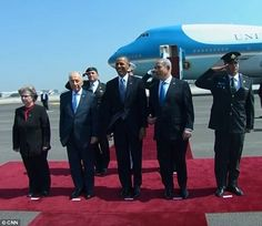 Chuckles: Obama made the aside to Israeli prime minister Benjamin Netanyahu (right) who looked amused by the remark