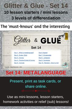 Teach your high school students key verbs to describe what an author is doing. Set 14 from Drive Resources' Glitter and Glue series. Multiple uses including online learning. Great for homeschoolers as well as the traditional classroom. A super popular teacher resource for high school English teachers. Exercise Book, Bell Ringers, English Teachers, Parts Of Speech, Student Teaching, Reading Activities, Differentiation, High School Students, Task Cards