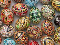 Russian painted easter eggs. In 1725, when Anna was in St. Petersburg, some eggs would simply have been coloured red, but others, like the ones that Edmund's landlady supplies him with, were decorated beautifully, like these.