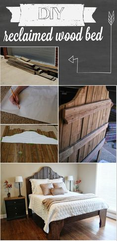 We started by laying out the boards for the headboard side by side. And drew the…