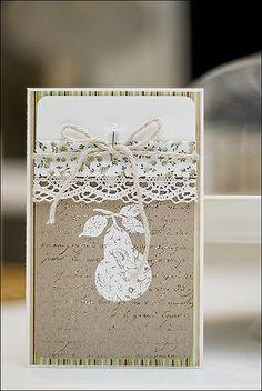 be more creative: Karten - kraft background, enfrancais - tone on tone, wide lace