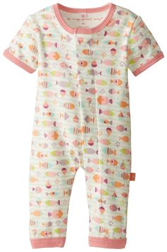 Magnificent Baby Baby-Girls Newborn Here Fishy Fishy Short Sleeve Union Suit, Fish, 6 Months