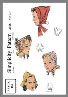 Simplicity-Millinery-Hat-Bonnet-Head-cover-Fabric-material-sew-pattern-3065