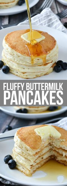Start your morning with a warm stack of these light and Fluffy Buttermilk Pancakes topped with warm maple syrup, fruit or add in your favorite mix-ins!