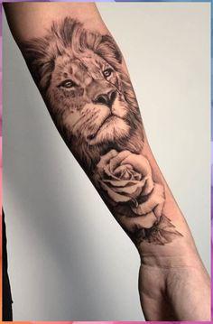 tatuagem de leão com rosas feminina no braço #tatuagem #leão #com #rosas #feminina #braço Lion Head Tattoos, Mens Lion Tattoo, Leo Tattoos, Animal Tattoos, Female Lion Tattoo, Tatoos, Lion Tattoo Sleeves, Forearm Sleeve Tattoos, Sleeve Tattoos For Women