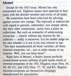 Memel Territory - On Collecting the Stamps