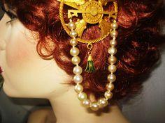 Mucha Lady Headband Egyptian Revival Enamel Drops from decadentdiva on Ruby Lane