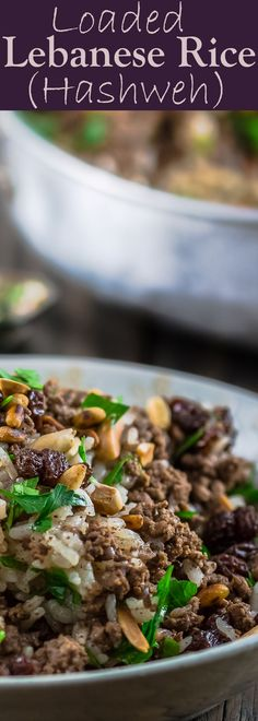 Lebanese Rice (Hashweh) | The Mediterranean Dish. Easy, flavorful loaded Lebanese Rice with ground beef, toasted nuts, raisins and sweet, earthy spices. Makes the perfect side dish or dinner bowl.