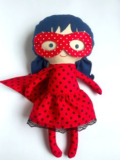 LADYBUG RAG DOLL toy, super hero doll girl toy for toddler custom gift with superhero mask and cape with dots by LaLobaStudio