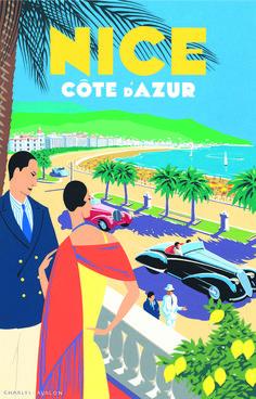 ART DECO STYLE TRAVEL POSTER---Nice - Côte d'Azur.  Artist: Charles Avalon #art_deco #vintage_posters