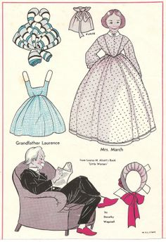 Wee Wisdom paper dolls | Aunt March and Mr. March Paper Dolls Little Women
