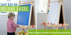Save $20 on our Deluxe Easel when you login or register an account at littlepartners.com.