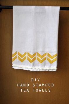 DIY HAND STAMPED TEA TOWELS, make your own stamps! budget friendly craft, design on a dime