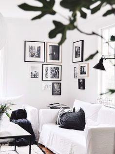 Picture wall in living room corner
