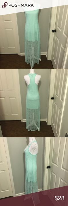 """Victoria's Secret Sleeveless Mint Party Dress Victoria's Secret Sleeveless Mint Party Dress with racerback, side slit, & lace overlay (New without tags, never worn) Size M- 31"""" from shoulder to hem of shell, 17"""" from armpit to armpit Victoria's Secret Dresses"""