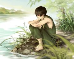 Tags: Anime, Sad, Green Outfit, River, Avatar: The Last Airbender, Zuko, Shan