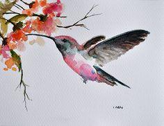 ORIGINAL peinture à l'aquarelle oiseau colibri et par ArtCornerShop