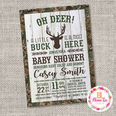 Camouflage Oh Deer Hunting Baby Shower Invitation - Digital File  *This is a Custom Digital/Printable Design Only* BlaineLeeDesigns
