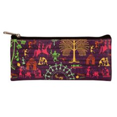 This eclectic small utility pouch celebrates village life using the unique technique of warli art.